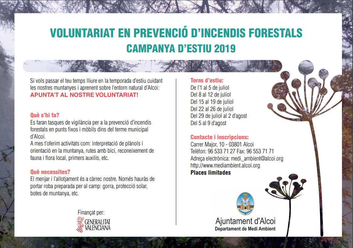 Campanya de voluntariat en Prevenció d'Incendis Forestals